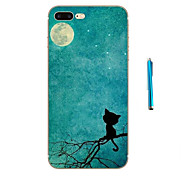 Moon Cat Pattern Soft TPU Bumper Case for Apple iPhone 7 Plus 7 and Stylus