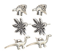 3 pairs/ set Fashion Vintage Punk Accessories Ancient Silver Dinosaur Small Animal Leaves Stud Earrings Sets For Women
