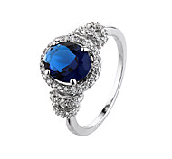 Hot Fashion Luxury Vintage  Sapphire Zircon CZ Diamond Oval  Rings For Women Wedding Jewelry Bague Ring