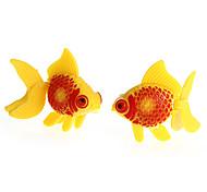 2x Artificial Fish Plastic Aquarium Pond Decoration Ornament Yellow Red