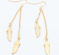 Europe New Leaves Chain Feather Tassel Matel Earrings Hot Style