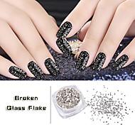 5g/box Silver Irregular Broken Glass Flake Nail Art Glitters Powders Creative 3d UV Gel Polish Nail Decoration Tools