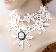 NecklaceJewelryWomen White Lace Pearl Pendant Chokers Necklaces Bridal Accessories Halloween Gift