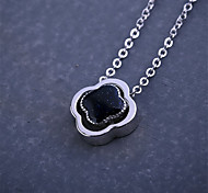 Women's Necklace Sapphire Pendant Necklaces Jewelry Wedding / Party Fashion Sterling Silver / Gem Dark Blue