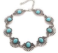Women's Fashion Luxury European Gem Stone Turquoise Choker Necklace for Women