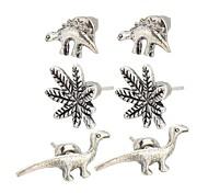 European 3pairs/set Maple Leafs Dinosaurs Shape Geometric Earrrings Stud Earrings for Women Fashion Jewelry Best Gift