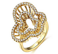 Gold Ring Romantic Wide Double Butterflies Inlaid Cubic Zirconia Gold Plated Engagement Rings Fashion Jewellery