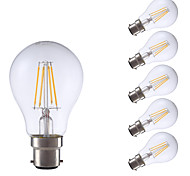 4W B22 LED Filament Bulbs A60(A19) 4 COB 400 lm Warm White Decorative V 6 pcs