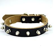 Dog Collar Adjustable/Retractable Solid Black / Brown Genuine Leather