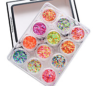 1 juego de 12 puntas de las uñas paquete de ronda brillante color mezclado y tamaño de 1 mm&2mm&3mm