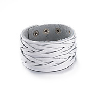 Men's Women's Wrap Bracelet Leather Fashion White Black Light Brown Dark Brown Jewelry 1pc