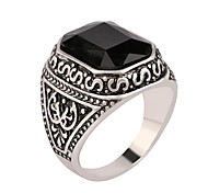 Men Rings Big Black/Red Carved Stone Antique Silver Plated Ring For Women Retro Texture Engraved Wholesale Lover Rings