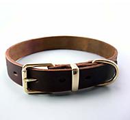 Dog Collar Adjustable/Retractable Solid Brown Genuine Leather