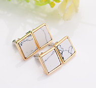 New Arrival 2016 Trendy Gold Fashion Square Geometric Marbled White Faux Stone Stud Earrings For Women
