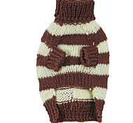 Dog Sweater Orange / Coffee Dog Clothes Winter / Spring/Fall Stripe Keep Warm