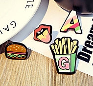 1 Set Cute Love Hamburger Cake Chips Brooch Set Fashion Jewelry for Men/Women(Random Style)