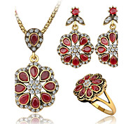 Luxury Ruby Jewelry Fashion Petal Type Nigerian Wedding African Gold Plated Wedding Jewelry 3Pcs/Set For Women0003