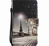 For Motorola G4 Play G4 Case Cover City Scenery Painted Lanyard PU Phone Case