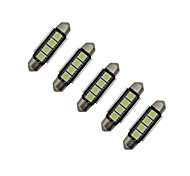 JIAWEN® 5pcs Festoon 42mm 1.5W 4x5050SMD 80-90LM 6000-6500K Cool White Light LED Car Light (DC 12V)