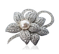 Women's Fashion Alloy/Rhinestone Flower Brooches Chic Pin Party/Daily/Casual Jewelry Accessory 1pc