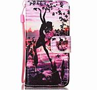 pintura da borboleta menina caso de telefone pu para Apple iTouch 5 6