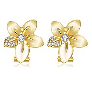 E1072 (2 colors) CZ Diamond Flower Rose Gold Plated Earrings For Women Wholesale  New Fashion Accessories Jewelry