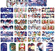 12 Designs XMAS Nail Art Water Transfer Sticker Full Cover Decals Merry Christmas Snowman Stickers Wrap Tip Decoration A1141-1152