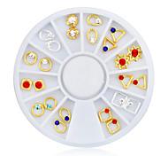 1pcs Mix Design Gold Silver Metal Nail Decoration Wheel Charm Rhinestone