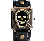 Vintage Men'S Watch Skeleton Leather Watch Strap Quartz Wrist Watches Punk Men'S Jewelery Relogio Masculino