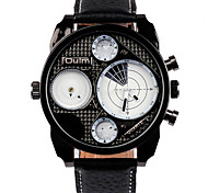 Oulm Men's Wrist watch Quartz Dual Time Zones Leather Band Cool Casual Black