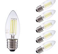 3.5 E26/E27 Bombillas de Filamento LED B 4 COB 350/400 lm Blanco Cálido / Blanco Fresco Regulable AC 100-240 V 6 piezas