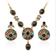Vintage  Plated Zircon Fashion Jewelry Sets Clover Pendant Earring Necklace Set
