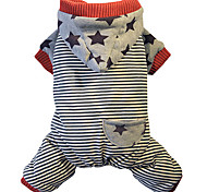 Dog Clothes/Jumpsuit Dog Clothes Winter Spring/Fall Stripe Casual/Daily Keep Warm Gray Green