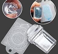 1pcs rettangolare trasparente chiodo silicone sigillo eemplate raschietto