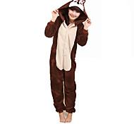 Kigurumi Pajamas Chipmunk / Mouse Leotard/Onesie Festival/Holiday Animal Sleepwear Halloween Brown Patchwork Coral fleece Kigurumi For