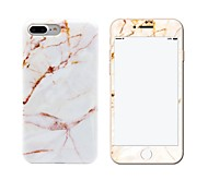 For IMD Case Back Cover Case Yellow and White Marble Soft TPU with Marble Tempered Glass Film Apple iPhone 7 7 Plus 6s 6 Plus