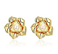 E1074 (2 colors) Simulate Pearl Flower Rose Gold Plated Earrings For Women Wholesale New Fashion Accessories Jewelry