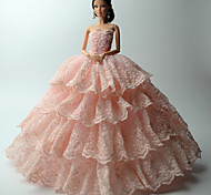 Party/Evening Dresses For Barbie Doll Pink Solid / Lace Dresses For Girl's Doll Toy