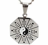 унисекса восемь диаграмм кулон ожерелье шарма нержавеющей стали 316l ретро черный посеребренные мужчины и женщины ювелирные изделия