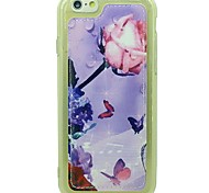 Peach Butterfly Pattern Soft TPU Case Cover PU Leather Protective Case with For iPhone 6/6S