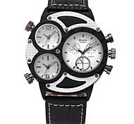 Men's Military Watch Wrist watch Quartz Three Time Zones PU Band Cool Casual Black Brand Oulm