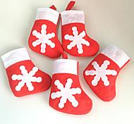 6pcs снежинки мини носки набор столовых приборов