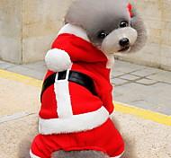Кошка Собака Костюмы Толстовки Одежда для собак Очаровательный Рождество Сплошной цвет Красный