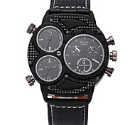 Oulm Men's Military Watch Wrist watch Quartz Three Time Zones PU Band Cool Casual Black