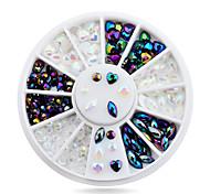 1pcs White AB Black Glitter Nail Rhinestone Pearls Wheel Round Heart Designs Acrylic