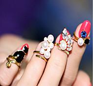 4Pcs Ring Cat Pearl Nail Nail Joints