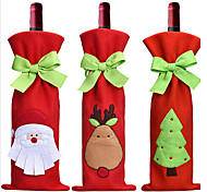 3PC Hot Sale Christmas Decoration Santa Claus Snowman Red Wine Bottle Cover