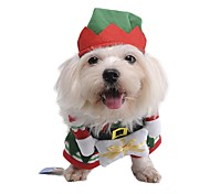 Pet Dog Elves Standing Clothes With Cap Christmas Party Coat Costume for Dog Pets Doggy Puppy Gift