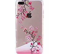 For Apple iPhone 7 7Plus Case Cover Plum Pattern TPU Material Diamond-Studded Mobile Phone Case