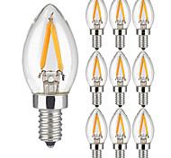 2W E14 Ampoules à Filament LED 2 COB 200 lm Blanc Chaud AC 100-240 V 10 pièces